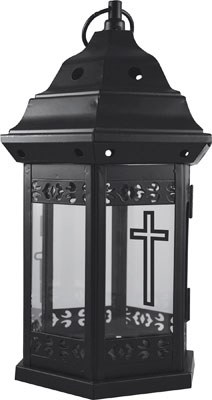 Metal and Glass Grave Light holder 25cm