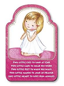 Praying Girl Wood Plaque