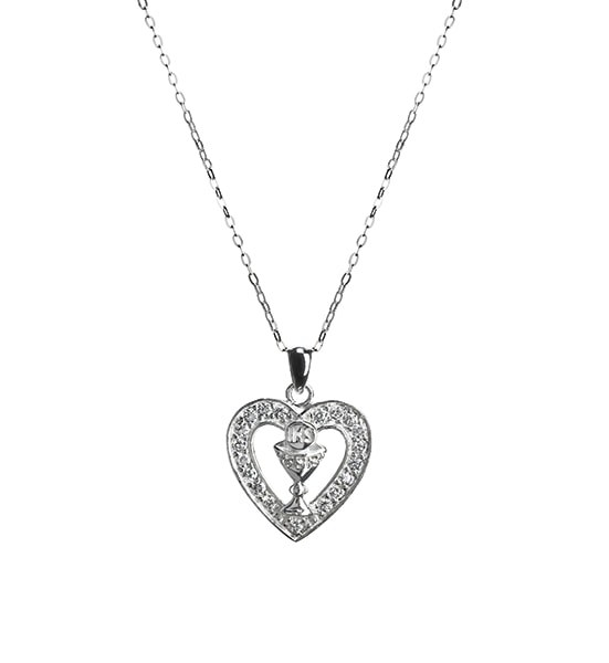 Sterling Silver Heart Shaped Crystal Medal