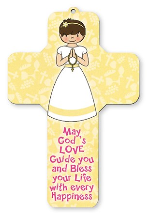 Girl First Holy Communion Wood Cross