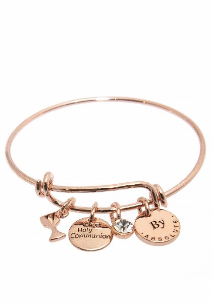 Rose Gold First Holy Communion Bangle