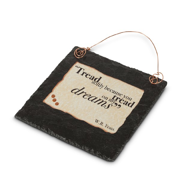 Yeats Quote Doodle Art on Slate with Copper Wire h