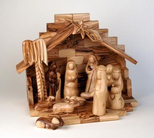 13 piece Smooth Olive Wood Nativity