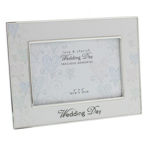 "Love & Cherish Silver Plated Wedding Day Photo Frame 6"" x 4"""