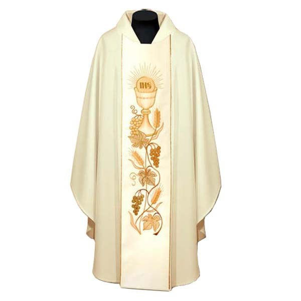 Cream Embroidered Chasuble and Stole