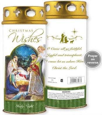 Christmas Wishes nativity candle
