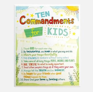 Ten Commandments For Kids Plaque