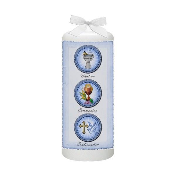 Blue Parchment Christening Candle
