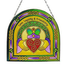 Claddagh Ring Arch Stained Glass Panel