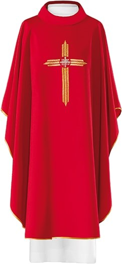 Red  Chasuble Embroidered Cross with IHS Symbol
