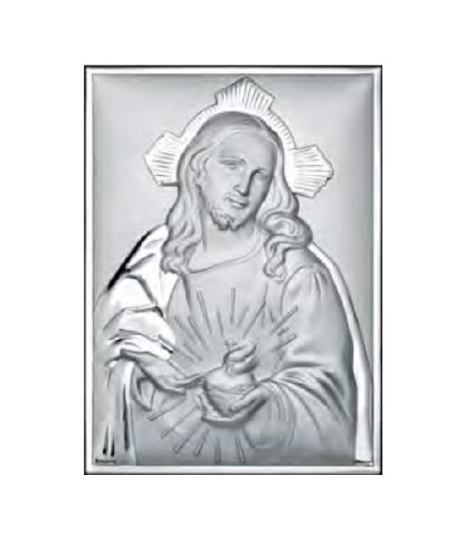 Sacred Heart Silver Icon (18 x 13 cm)