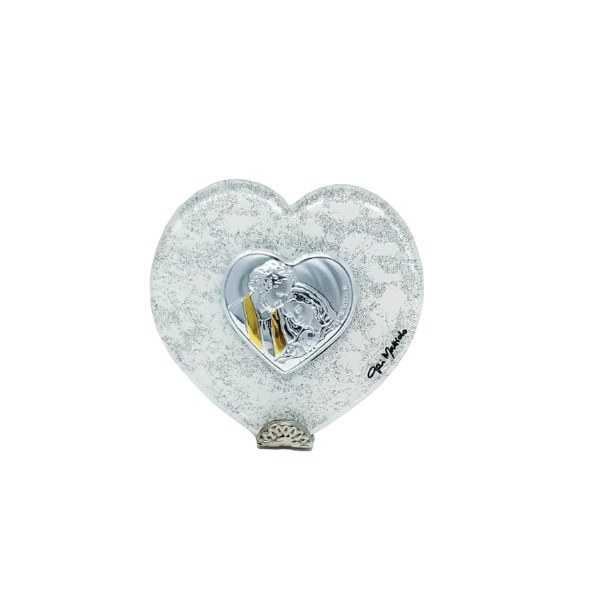Holy family Siver Heart Icon (6 x 7cm)