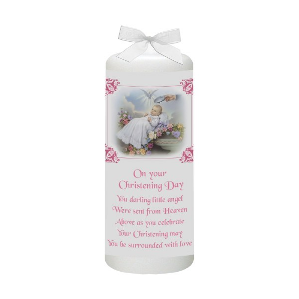 Traditional Christening Candle Pink and White 15cm