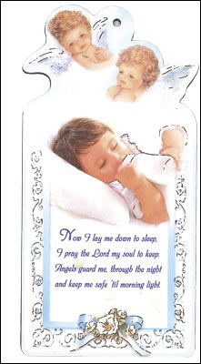 Baby Boy with Prayer Wood Plaque