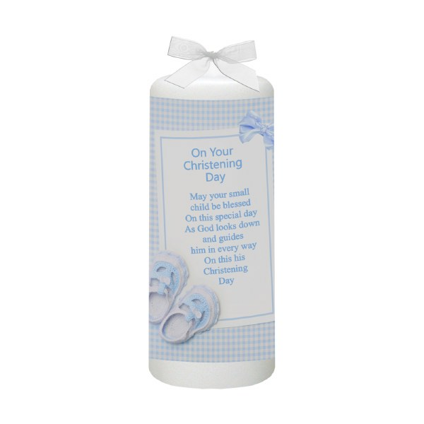 Blue Gingham Bow and Shoes Christening Candle 15cm