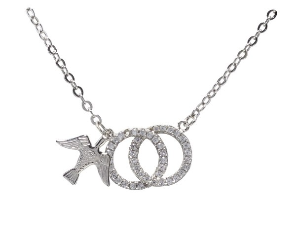 Confirmation Double Rings Dove Pendant