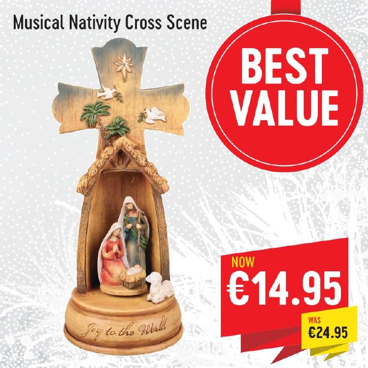 Musical Nativity Cross Scene (28cm)