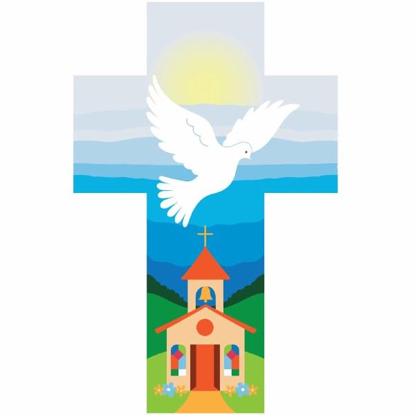 Dove over Church Cross (14cm)