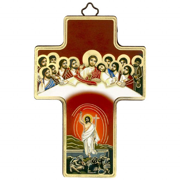 Last Supper Resurrection Icon Crucifix (12 x 9cm)