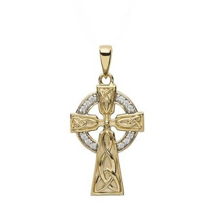 10Kt Gold Cubic zirconia Celtic Cross
