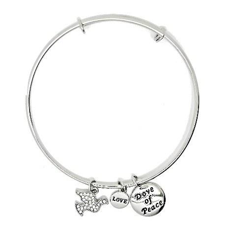 Silver Dove of Peace Bangle Bracelet
