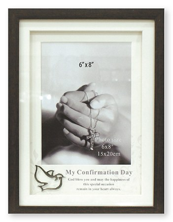 Confirmation Brown Wood Photo Frame