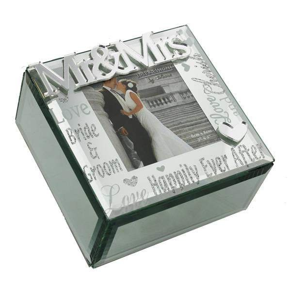 Wedding Gift Trinket Box With mirror finish Mr and Mrs
