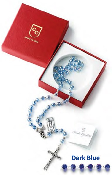 Dark Blue Crystal Rosary Beads Gift Boxed