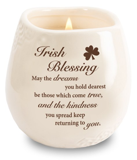 Stoneware Jar with Soy Wax Candle and message Irish Blessing