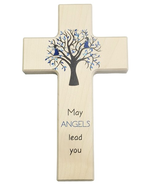 Blue May Angels Lead You Wooden Cross (20cm)