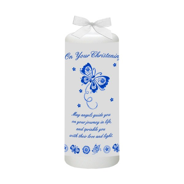 Blue Butterfly and Flowers Christening Candle 15cm
