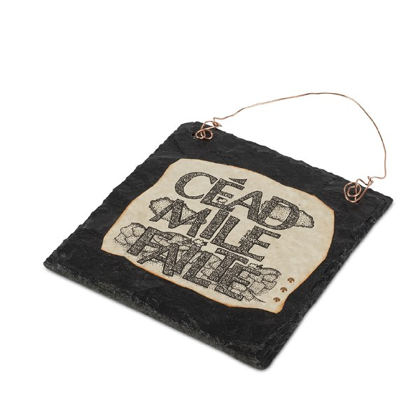 Cead Mile Failte Doodle Art on Slate with Copper W