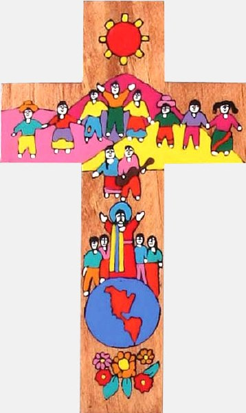 Children of the World Hand Painted Wooden Cross (63cm)