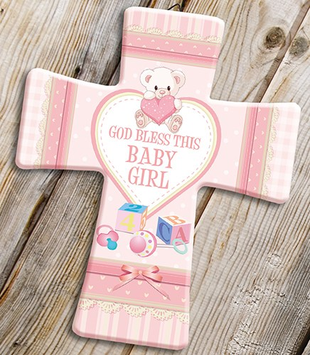 Pink God Bless This Baby Girl Cross