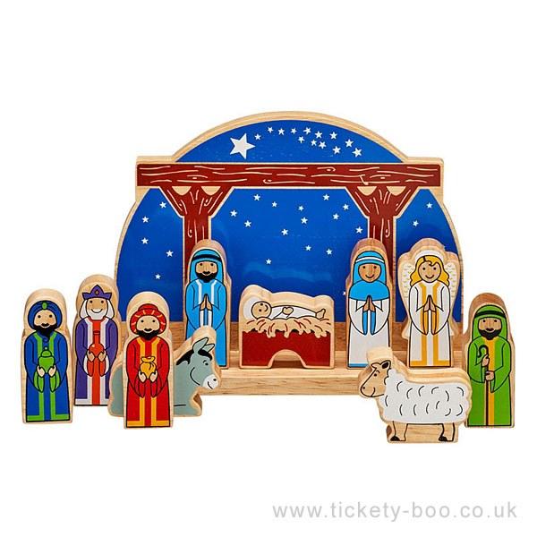 Starry Night Wooden  Childrens Nativity Set