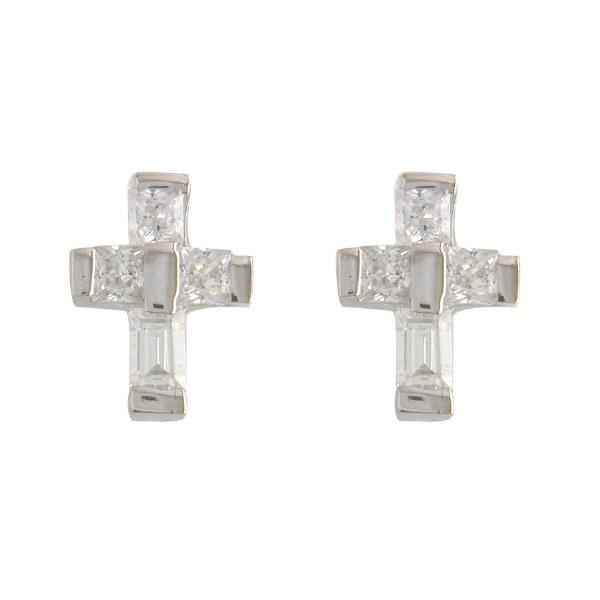 Baguette Cross Stud Earrings