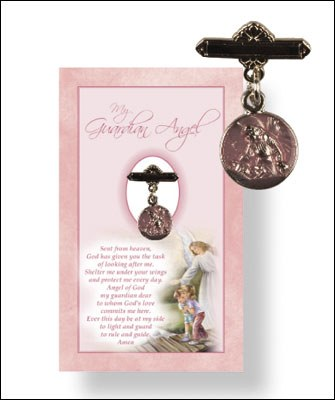 Baby Girl Guardian Angel Medal and Prayer