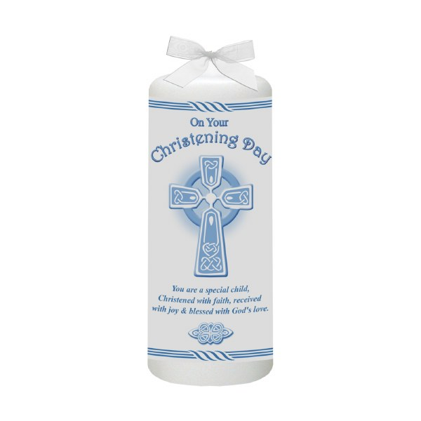 Blue Celtic Cross Christening Candle 6cm