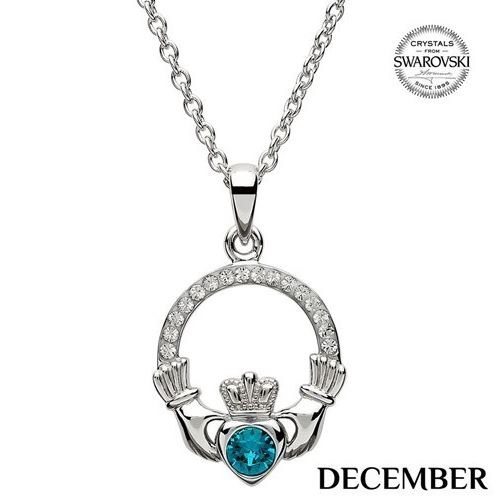 Claddagh Birthstone Necklace With Swarovski Crystals (December)