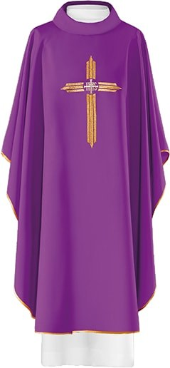 Purple Chasuble Embroidered Cross with IHS Symbol