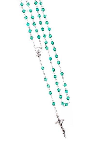 Dark Green Crystal rosary beads