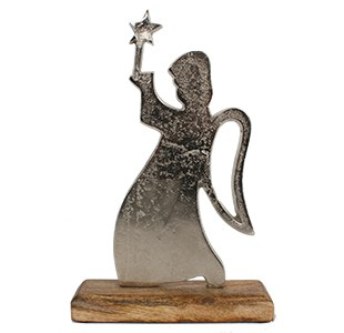Silver Angel with Wood base