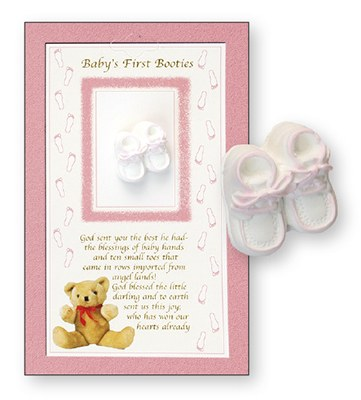 Pink Baby Booties Boxed