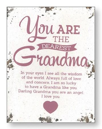 Dearest Grandma Wood Plaque