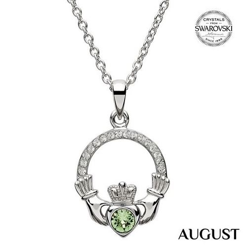 Claddagh Birthstone Necklace With Swarovski Crystals (August)