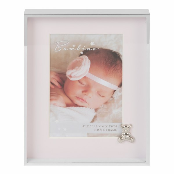 Pink Baby Silverplated Frame with Teddybear