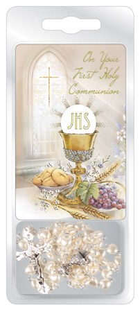 White Pearl First Holy Communion Rosary Beads