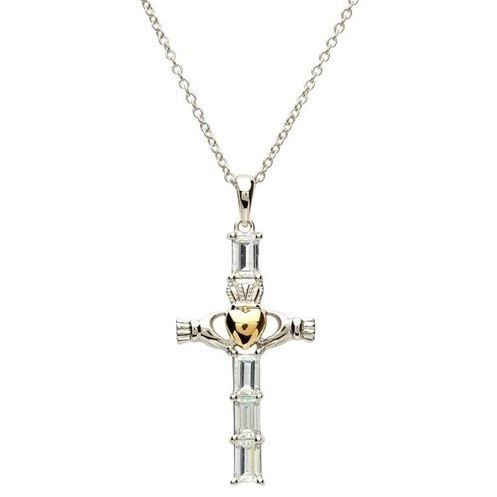 Sterling Silver Gold Plate Cubic zirconia Claddagh Cross