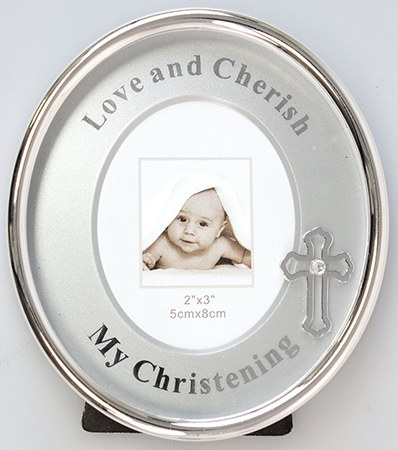 Oval Baptism Photo Frame