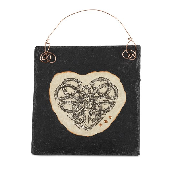 Celtic Heart Doodle Art on Slate with copper wire